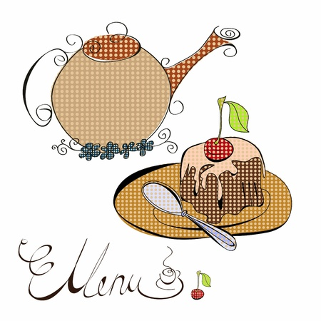 Menu with cake and teapot Vector