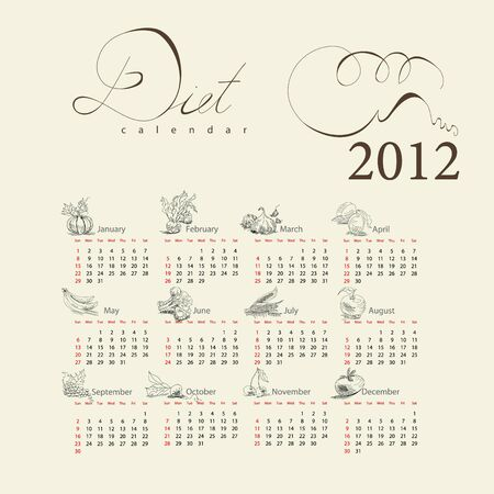 garden peas: Template for calendar with vegetable for 2012 Illustration