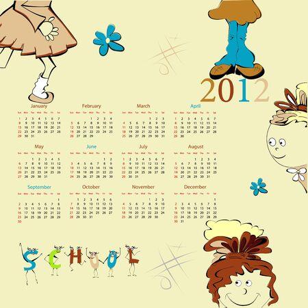 Plantilla de calendario 2012 con ilustración de estilo de dibujos animados Foto de archivo - 9229303