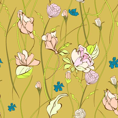 wild rose: Seamless pattern with decorative flowers