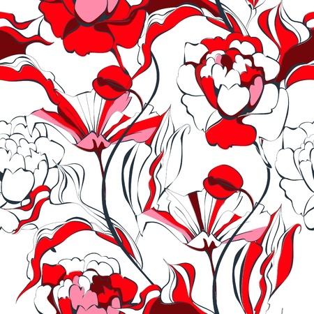 Seamless pattern with red flowers Stock Vector - 9229294