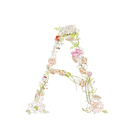 write a letter: Spring floral font, Letter A