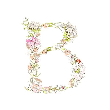 floral alphabet: Spring floral font, Letter B