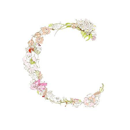 Spring floral font, Letter C Stock Vector - 9229320
