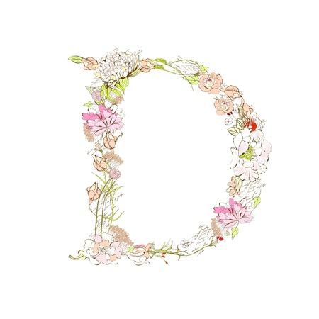 Spring floral font, Letter D Stock Vector - 9229350