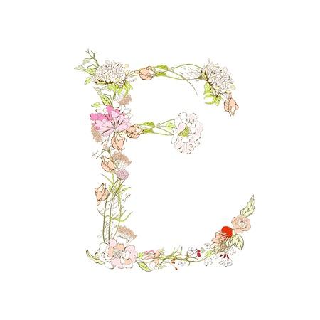 Spring floral font, Letter E Illustration