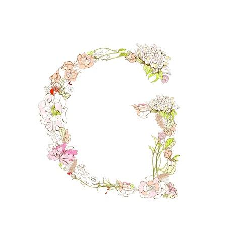 Spring floral font, Letter G Stock Vector - 9229340