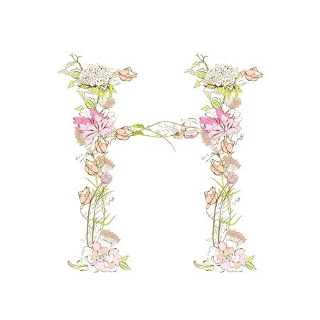 Spring floral font, Letter H Stock Vector - 9229355