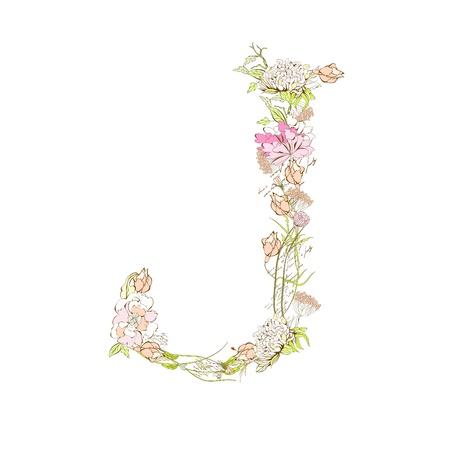 flower font: Spring floral font, Letter J Illustration