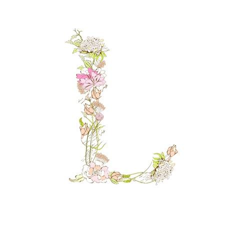 Spring floral font, Letter L Stock Vector - 9229323