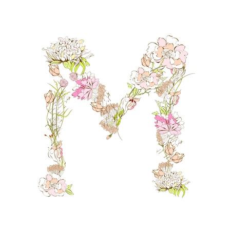 m: Spring floral font, Letter M Illustration