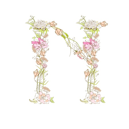 Spring floral font, Letter N Stock Vector - 9229356