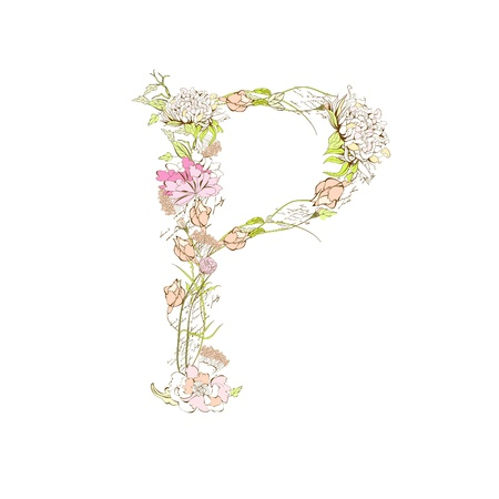 Spring floral font, Letter P Stock Vector - 9229328
