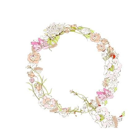Spring floral font, Letter Q Stock Vector - 9229361