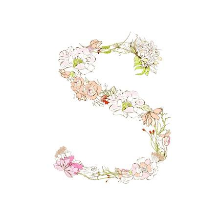 Spring floral font, Letter S Stock Vector - 9229325