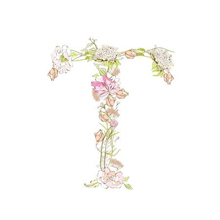 floral alphabet: Spring floral font, Letter T