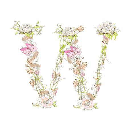 write a letter: Spring floral font, Letter W