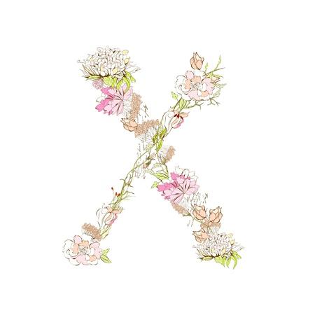 flower font: Spring floral font, Letter X