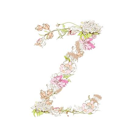 Spring floral font, Letter Z Stock Vector - 9229352