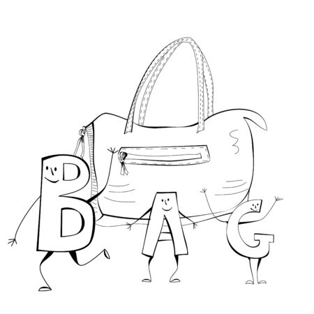 Sketch with bag Vector