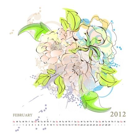 Calendar for 2012, february Vector