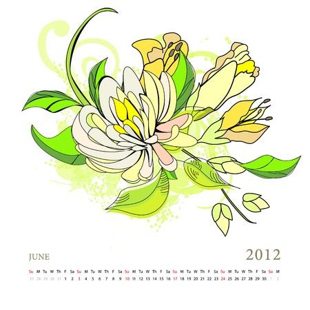 Calendar for 2012, june Vector