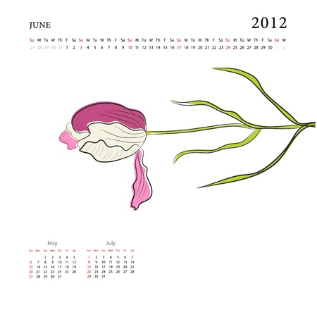 Calendar for 2012, june Vector