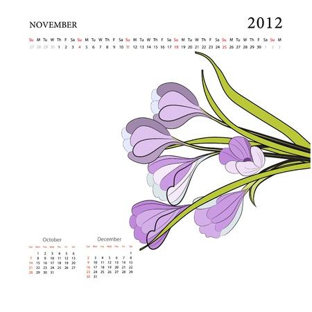 Calendar for 2012, november Vector