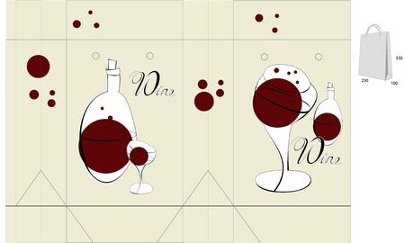 Template for bag design with wine glass Vector