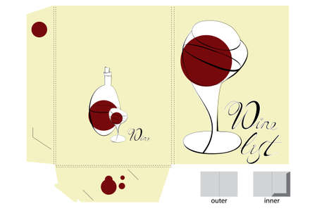 Template for folder design with wine glass Vector