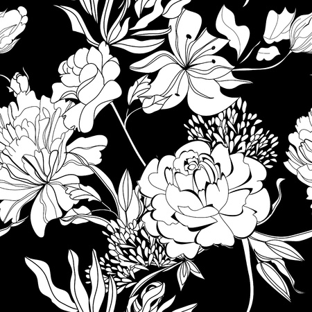 black and white flowers: Decorative seamless wallpaper with white flowers on black background