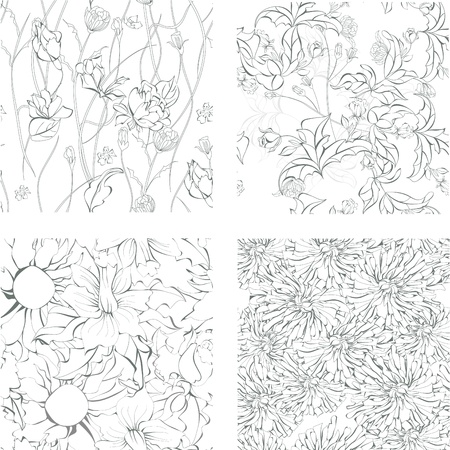 Set of seamless background with flowers Vector