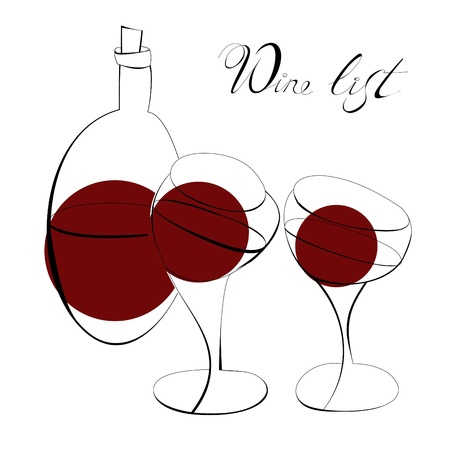 glass with red wine: Bottle for wine and two glasses