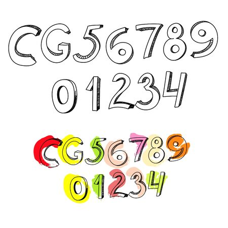6 7: Letters C, G, and numbers 1, 2, 3, 4, 5, 6, 7, 8, 9