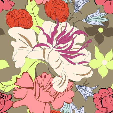 repeat: Seamless pattern with flowers