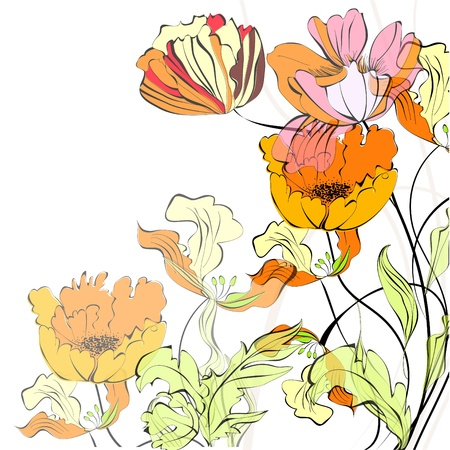 Background with beautiful flowers  Vector