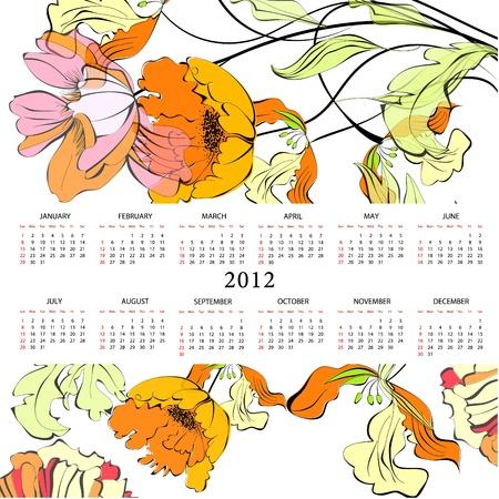 Original template for calendar 2012 with flowers  Vector