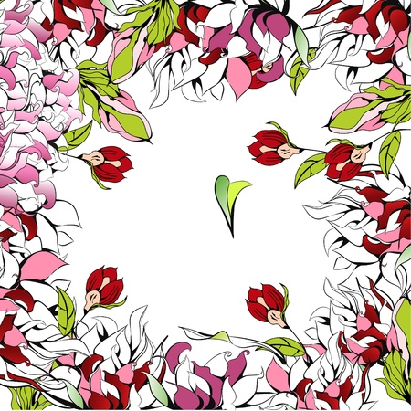 Romantic background with beautiful flowers  Vector