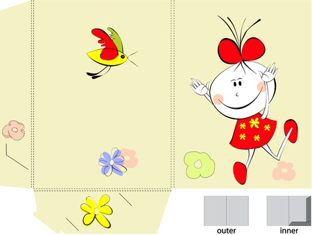 pre school: Template for folder design with small girl Illustration