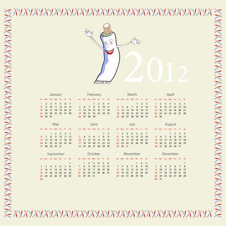 Calendar with a tube of toothpaste  Vector
