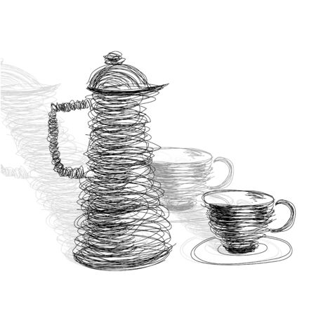 Tea cup with teapot Vector