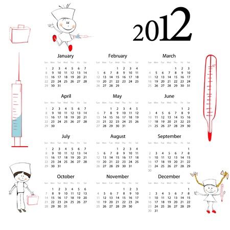 Calendar for 2012 with cartoon style illustration Stock Vector - 9685222