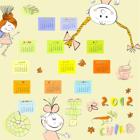 Cartoon style calendar 2012 Vector