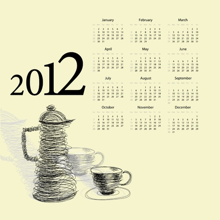 Calendar for 2012. Tea cup with teapot Stock Vector - 9685177