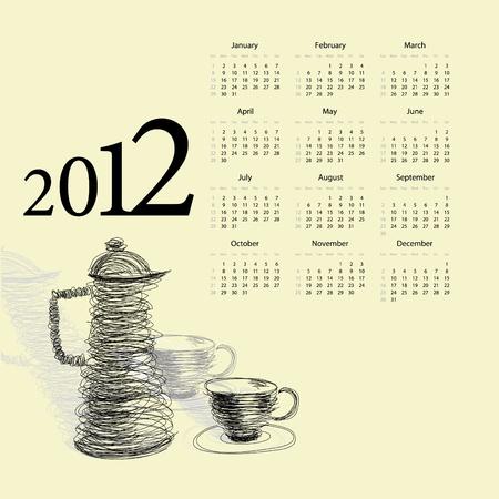 Calendar for 2012. Tea cup with teapot Vector