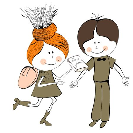 pre teen: Girl and boy Illustration
