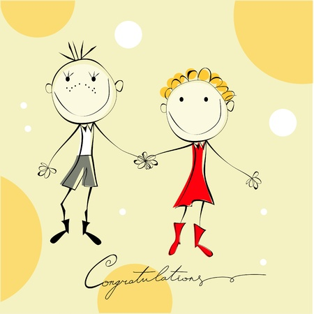 Funny couple, boy and girl Vector