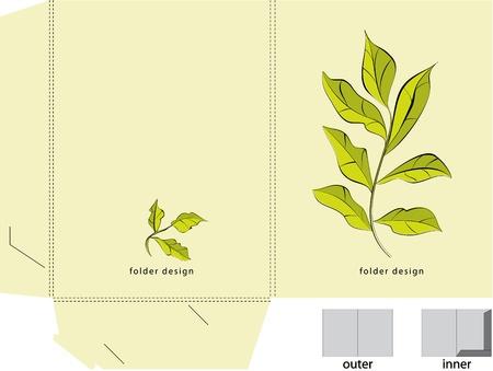 Decorative folder with floral element Vector