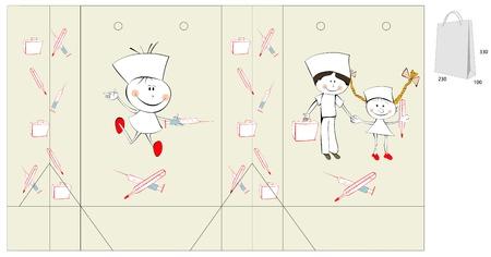 nurse injection: Template per il sacchetto con l'illustrazione in stile cartoon dei medici