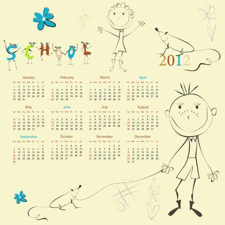 pre teen: Template for calendar 2012 with cartoon style illustration